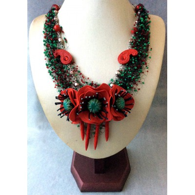 "Necklace ""Poppies Field"""