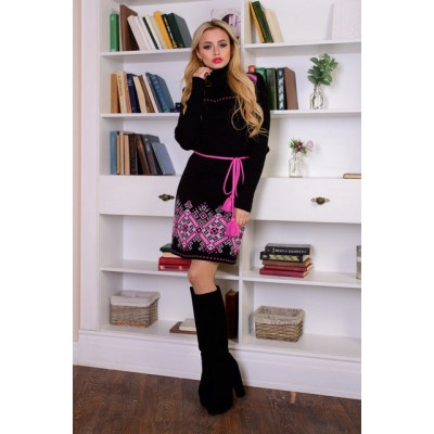 "Knitted dress ""Ivanka"" pink/black"