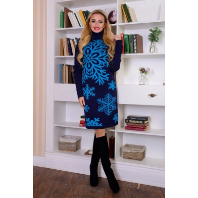 "Knitted dress ""Snowflake"" blue/navy"