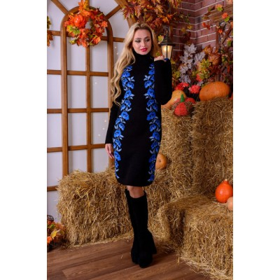"Knitted dress ""Poppies"" blue/black"