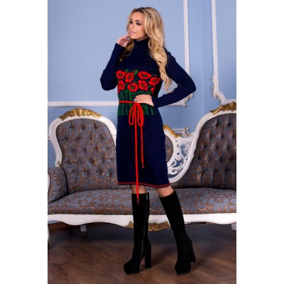 "Knitted dress ""Bouquet"" red/navy"