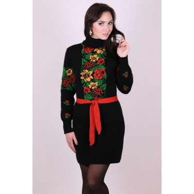 "Knitted tunic ""Rowan"" red/yellow"