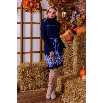 "Knitted dress ""Ivanka"" blue/navy blue"