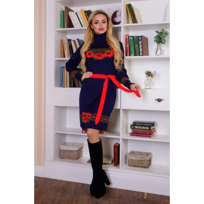 "Knitted dress ""Wreath"" red/navy"