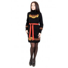 "Knitted dress ""Wreath"" yellow/black"