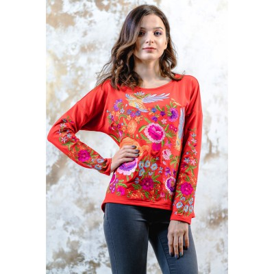 "Embroidered sweatshirt ""Fairy World"" Red"