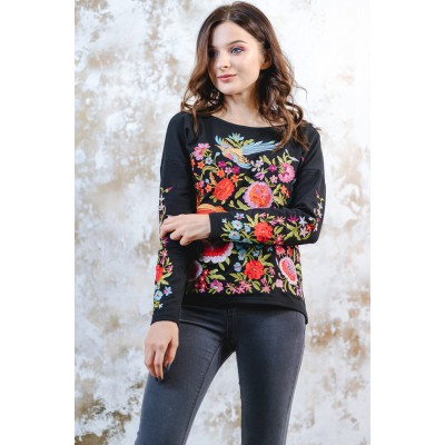 "Embroidered sweatshirt ""Fairy World"" Black"