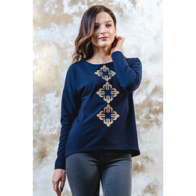 "Embroidered sweatshirt ""Stars"" Navy"