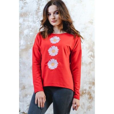 "Embroidered sweatshirt ""Bouquet of Chamomiles"" red"