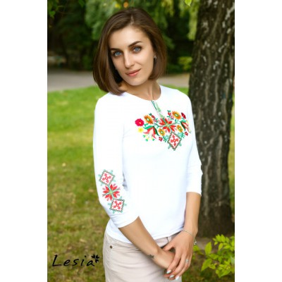 "Embroidered t-shirt with 3/4 sleeves ""Forest Song"" colourful on white"
