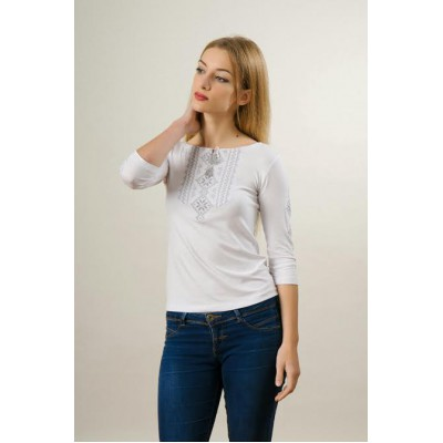 "Embroidered t-shirt with 3/4 sleeves ""Gutsul Girl"" gray on white"