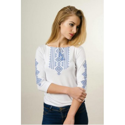 "Embroidered t-shirt with 3/4 sleeves ""Gutsul Girl"" blue on white"