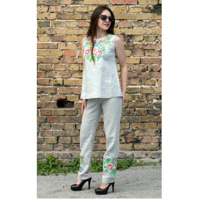 "Embroidered set: top&trousers ""Melody of Summer"""