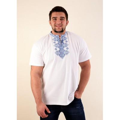 "Embroidered t-shirt for men ""Galaxy"" blue on white"