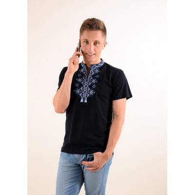 "Embroidered t-shirt for men ""Galaxy"" blue on black"