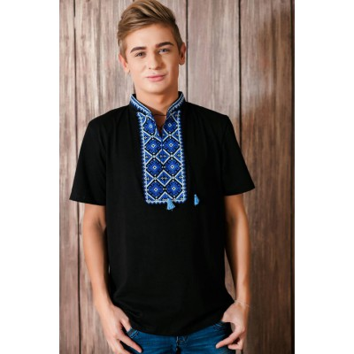 "Embroidered t-shirt for men ""Otaman"" blue on black"