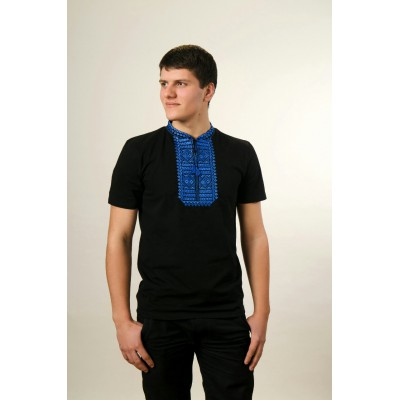 "Embroidered t-shirt for men ""Smoothness"" blue on black"