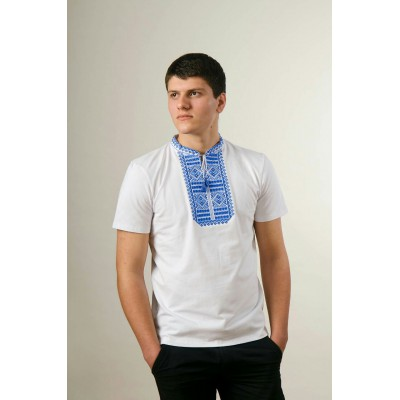 "Embroidered t-shirt for men ""Smoothness"" blue on white"