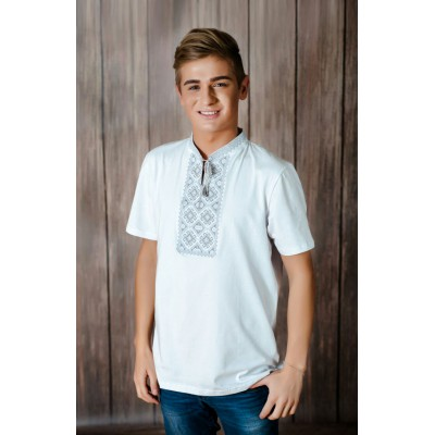 "Embroidered t-shirt for men ""Otaman"" gray on white"