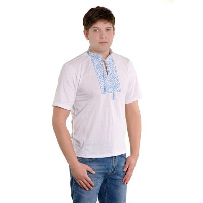 "Embroidered t-shirt for man ""Snowflake blue"""