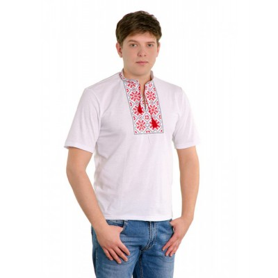 "Embroidered t-shirt for man ""Snowflake Red"""