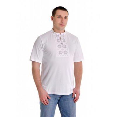 "Embroidered t-shirt for man ""Folk Grey"""