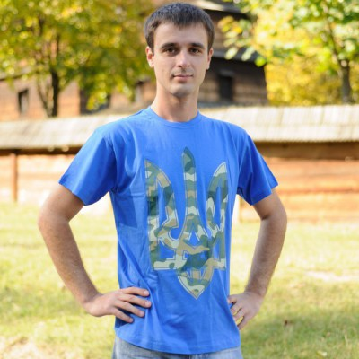"Printed Patriotic Unisex T-shirt ""Trident Camouflage Blue"""