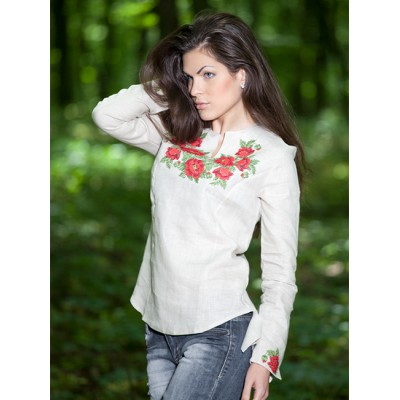 "Embroidered blouse ""Beautiful Roses"" white"