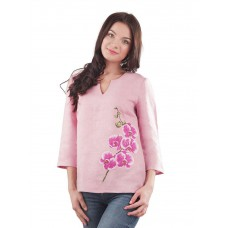 "Embroidered blouse-tunic ""Gentle Orchid"""