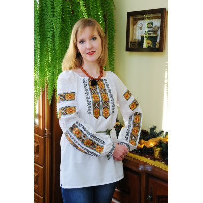 "SALE!! Embroidered blouse ""Golden Leaves"", size M1"