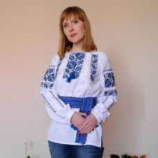 "Embroidered blouse ""Petrykivka Blue"""