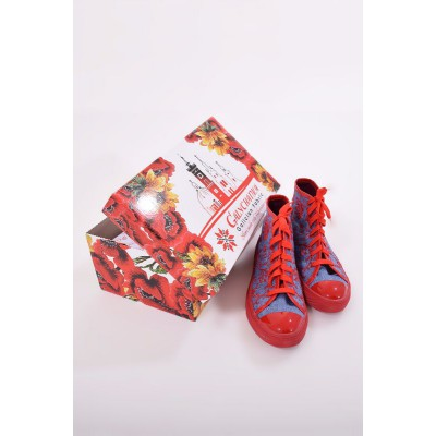 "Embroidered Sneakers ""Jeans Ornament Red"""