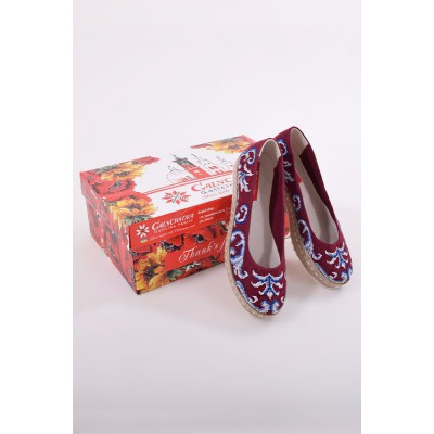 "Embroidered Flat Shoes ""Dew Red"""