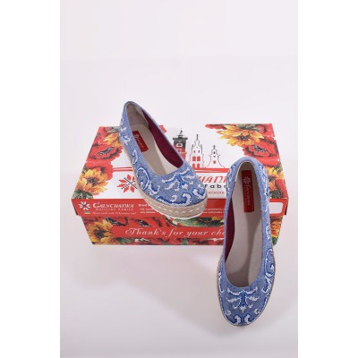 "Embroidered Flat Shoes ""Dew Blue"""