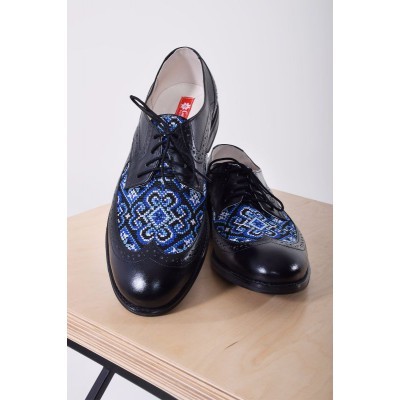 "Embroidered Man's Classic Shoes ""Prince"" blue"