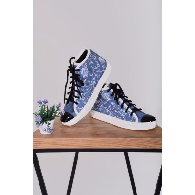 "Embroidered Sneakers ""Jeans Ornament White"""