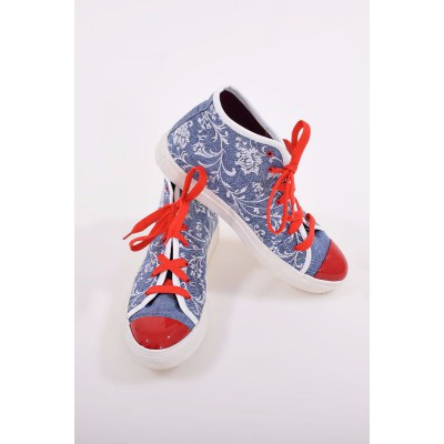 "Embroidered Sneakers ""Jeans Ornament Contrast"""
