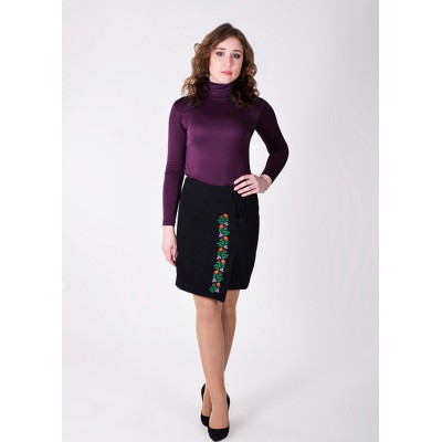"Embroidered Cashmere Skirt ""Flower Lace"" black"