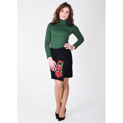 "Embroidered Cashmere Skirt ""Luxurious Poppies"" black"