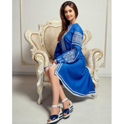 "Embroidered Boho Dress ""Contrasts"" blue"