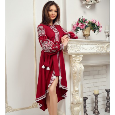 """Embroidered Boho Dress """"Contrasts"""" maroon"""