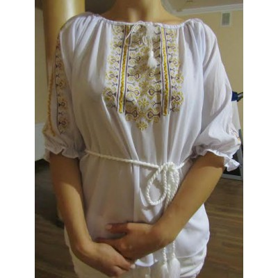"Embroidered  blouse ""Oriental Curves Golden on White"""