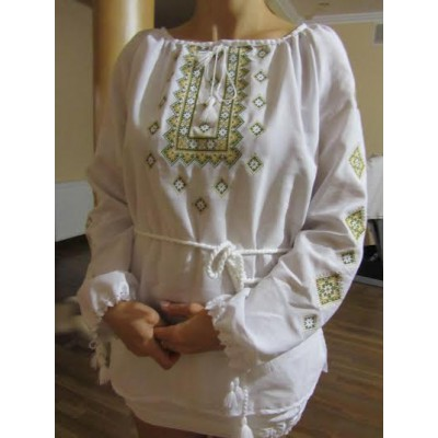 "Embroidered  blouse ""Twinkling Stars Lime on White"""