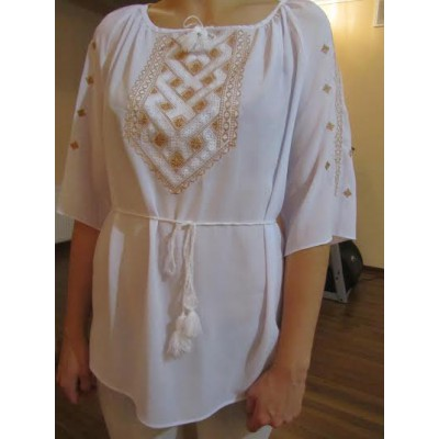 "Embroidered  blouse ""Chiffon Weaving Golden on White"""
