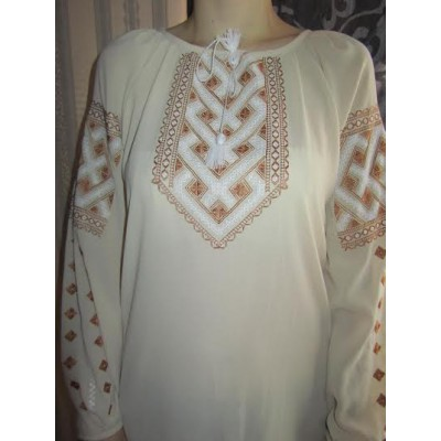 "Embroidered  blouse ""Chiffon Weaving Brown on White"""