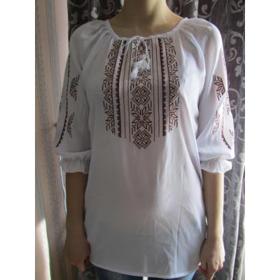 "Embroidered  blouse ""Magic Triangles Beige on White"""
