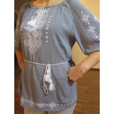 """Embroidered  blouse """"Shining Moon White on Grey"""""""