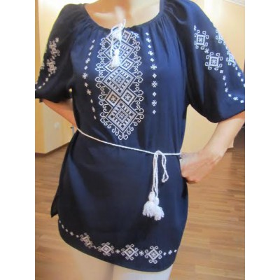 """Embroidered  blouse """"Shining Moon Bronze on Black 1/2 sleeve"""""""