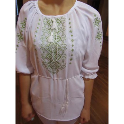 """Embroidered  blouse """"Shining Moon Lime on White"""""""