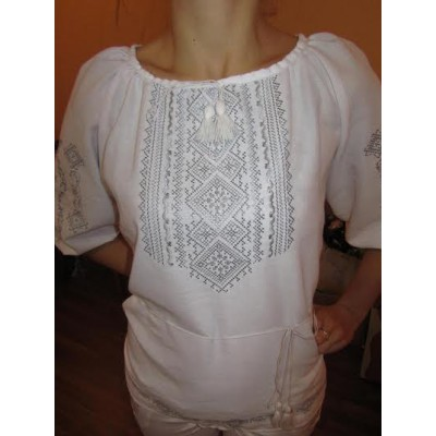 "Embroidered  blouse ""Fantastic Flowers Silver on White"""